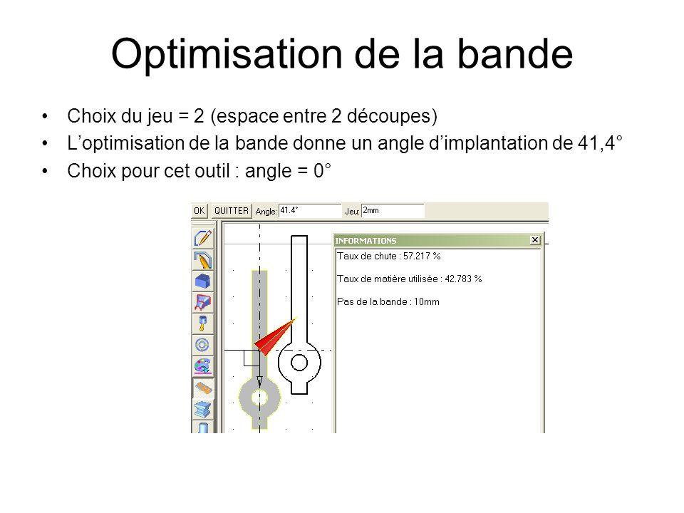 Optimisation de la bande Choix du jeu = 2 (espace entre 2 découpes) Loptimisation de la bande donne un angle dimplantation de 41,4° Choix pour cet outil : angle = 0°