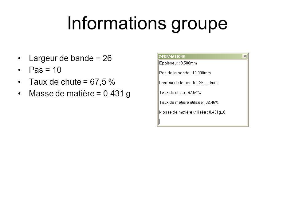 Informations groupe Largeur de bande = 26 Pas = 10 Taux de chute = 67,5 % Masse de matière = 0.431 g