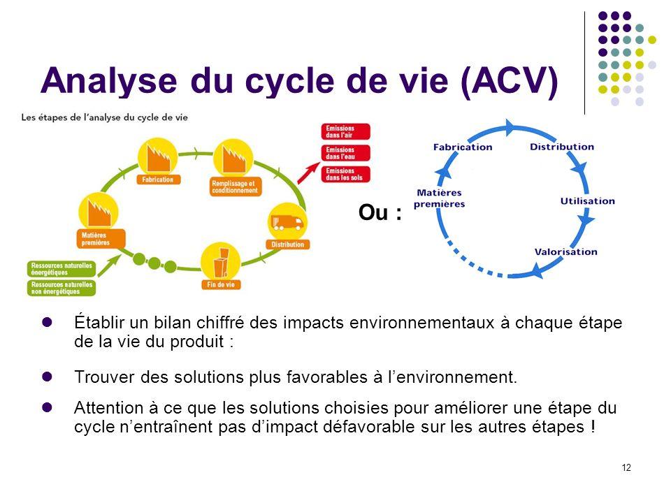 12 Analyse du cycle de vie (ACV) Établir un bilan chiffré des impacts environnementaux à chaque étape de la vie du produit : Trouver des solutions plu