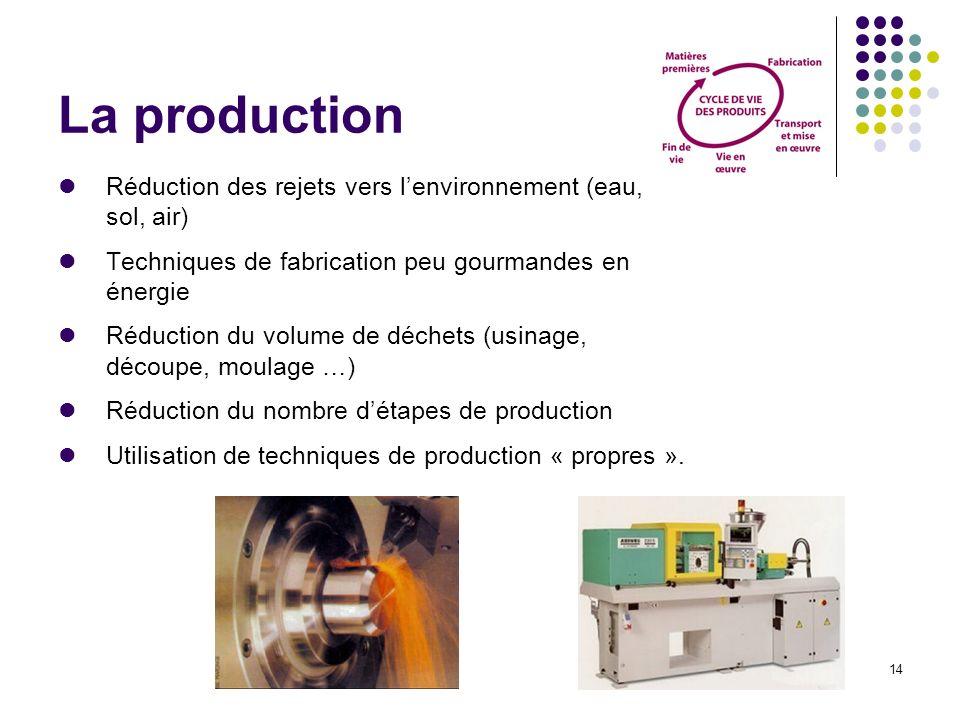 14 La production Réduction des rejets vers lenvironnement (eau, sol, air) Techniques de fabrication peu gourmandes en énergie Réduction du volume de d