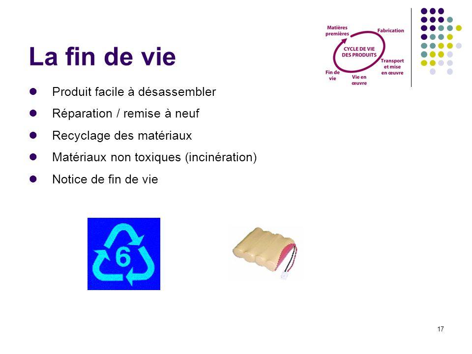 17 La fin de vie Produit facile à désassembler Réparation / remise à neuf Recyclage des matériaux Matériaux non toxiques (incinération) Notice de fin