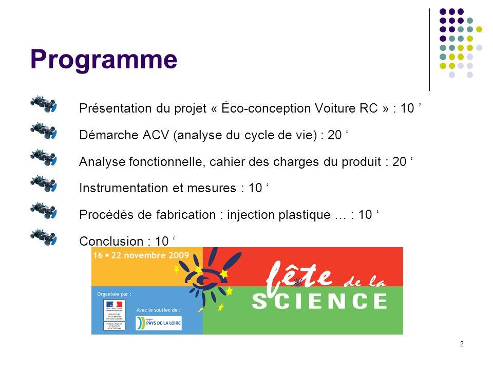 2 Programme Présentation du projet « Éco-conception Voiture RC » : 10 Démarche ACV (analyse du cycle de vie) : 20 Analyse fonctionnelle, cahier des ch