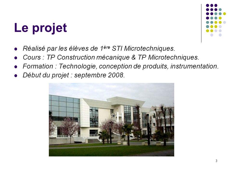 3 Le projet Réalisé par les élèves de 1 ère STI Microtechniques. Cours : TP Construction mécanique & TP Microtechniques. Formation : Technologie, conc