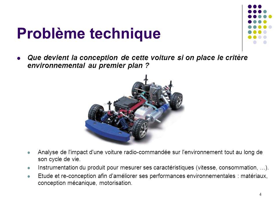 4 Problème technique Que devient la conception de cette voiture si on place le critère environnemental au premier plan ? Analyse de l'impact d'une voi