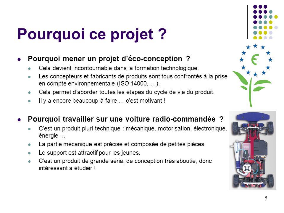 5 Pourquoi ce projet ? Pourquoi mener un projet déco-conception ? Cela devient incontournable dans la formation technologique. Les concepteurs et fabr