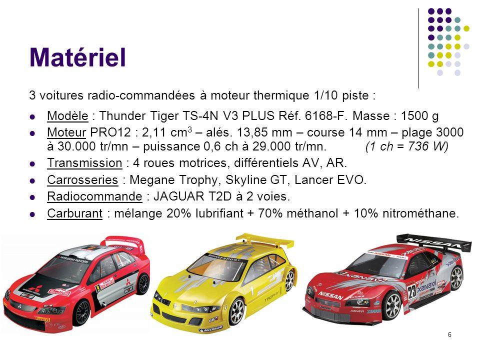 6 Matériel 3 voitures radio-commandées à moteur thermique 1/10 piste : Modèle : Thunder Tiger TS-4N V3 PLUS Réf. 6168-F. Masse : 1500 g Moteur PRO12 :