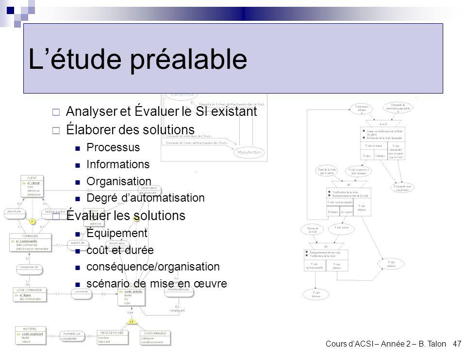 Cours dACSI – Année 2 – B. Talon 47 Létude préalable Analyser et Évaluer le SI existant Élaborer des solutions Processus Informations Organisation Deg