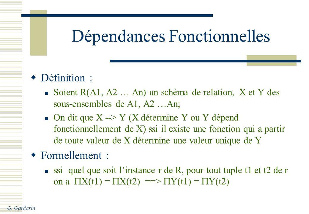 G. Gardarin Dépendances Fonctionnelles Définition : Soient R(A1, A2 … An) un schéma de relation, X et Y des sous-ensembles de A1, A2 …An; On dit que X