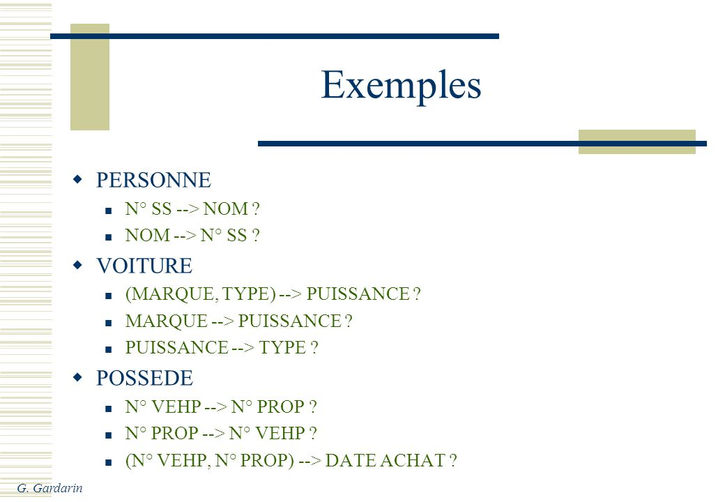 G. Gardarin Exemples PERSONNE N° SS --> NOM ? NOM --> N° SS ? VOITURE (MARQUE, TYPE) --> PUISSANCE ? MARQUE --> PUISSANCE ? PUISSANCE --> TYPE ? POSSE