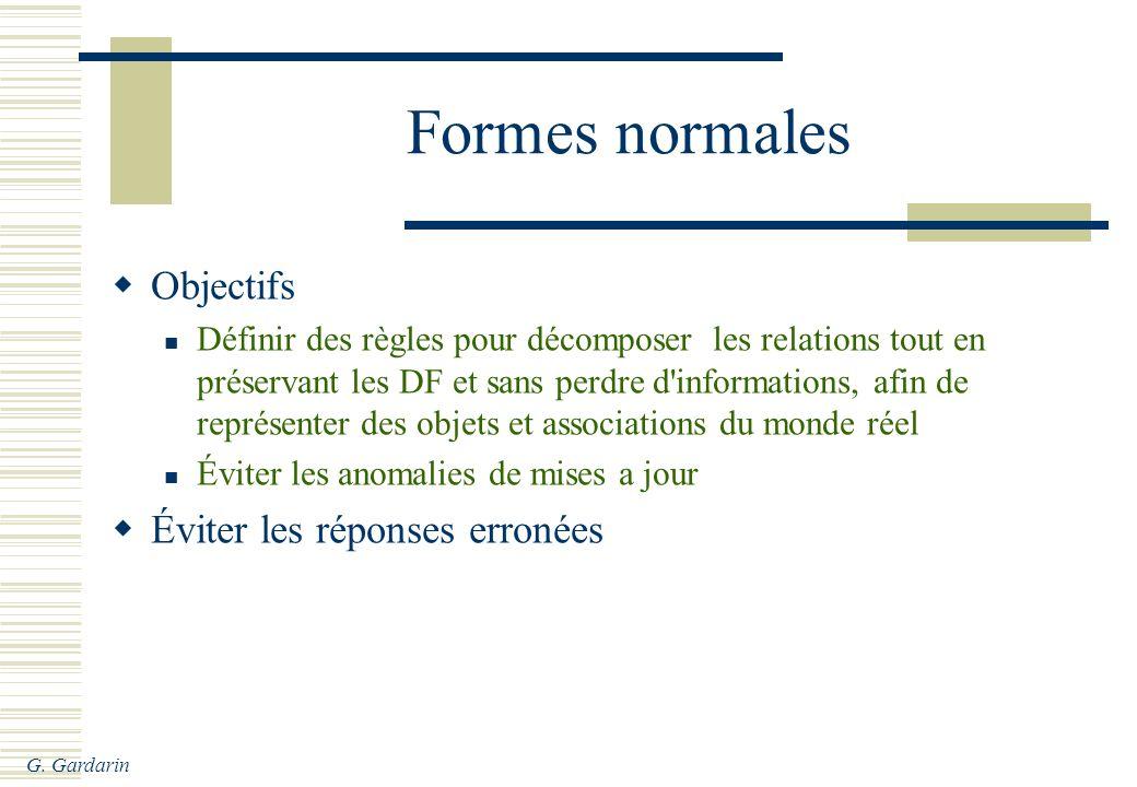 G. Gardarin Formes normales Objectifs Définir des règles pour décomposer les relations tout en préservant les DF et sans perdre d'informations, afin d