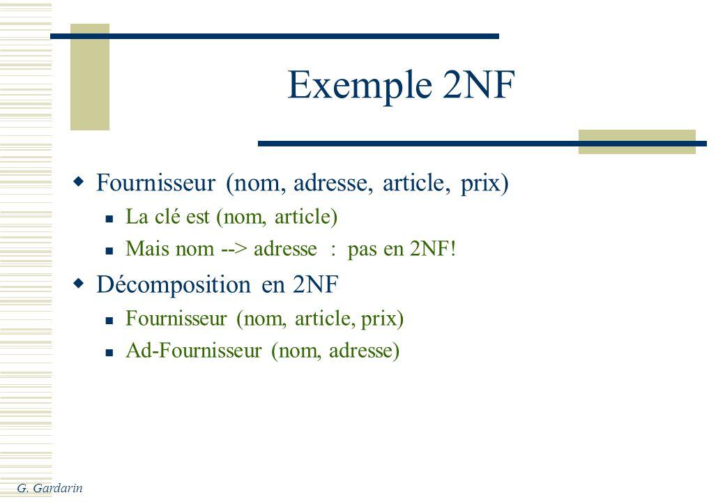 G. Gardarin Exemple 2NF Fournisseur (nom, adresse, article, prix) La clé est (nom, article) Mais nom --> adresse : pas en 2NF! Décomposition en 2NF Fo