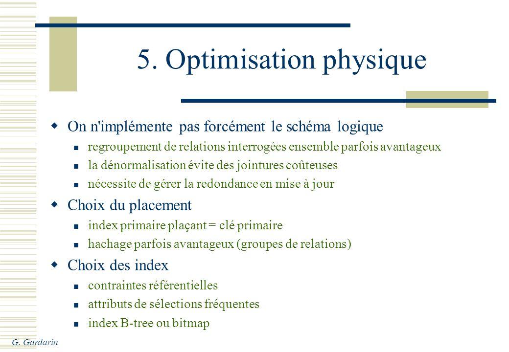 G. Gardarin 5. Optimisation physique On n'implémente pas forcément le schéma logique regroupement de relations interrogées ensemble parfois avantageux