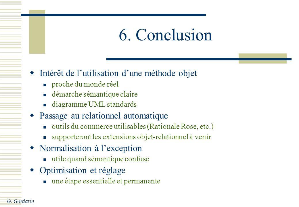G. Gardarin 6. Conclusion Intérêt de lutilisation dune méthode objet proche du monde réel démarche sémantique claire diagramme UML standards Passage a