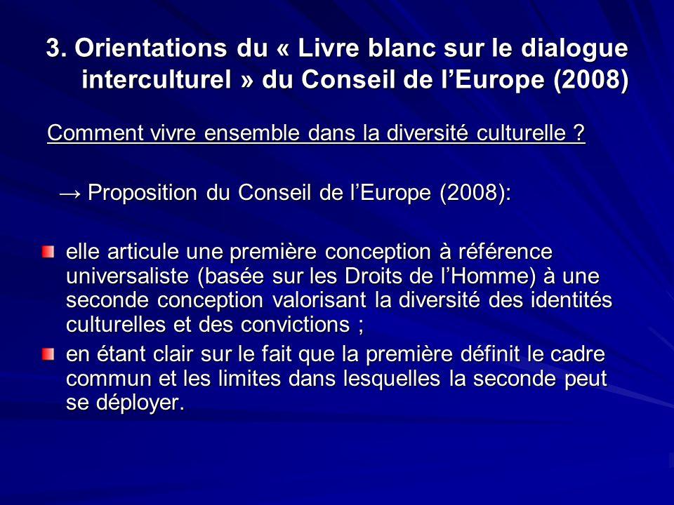 3. Orientations du « Livre blanc sur le dialogue interculturel » du Conseil de lEurope (2008) Comment vivre ensemble dans la diversité culturelle ? Co