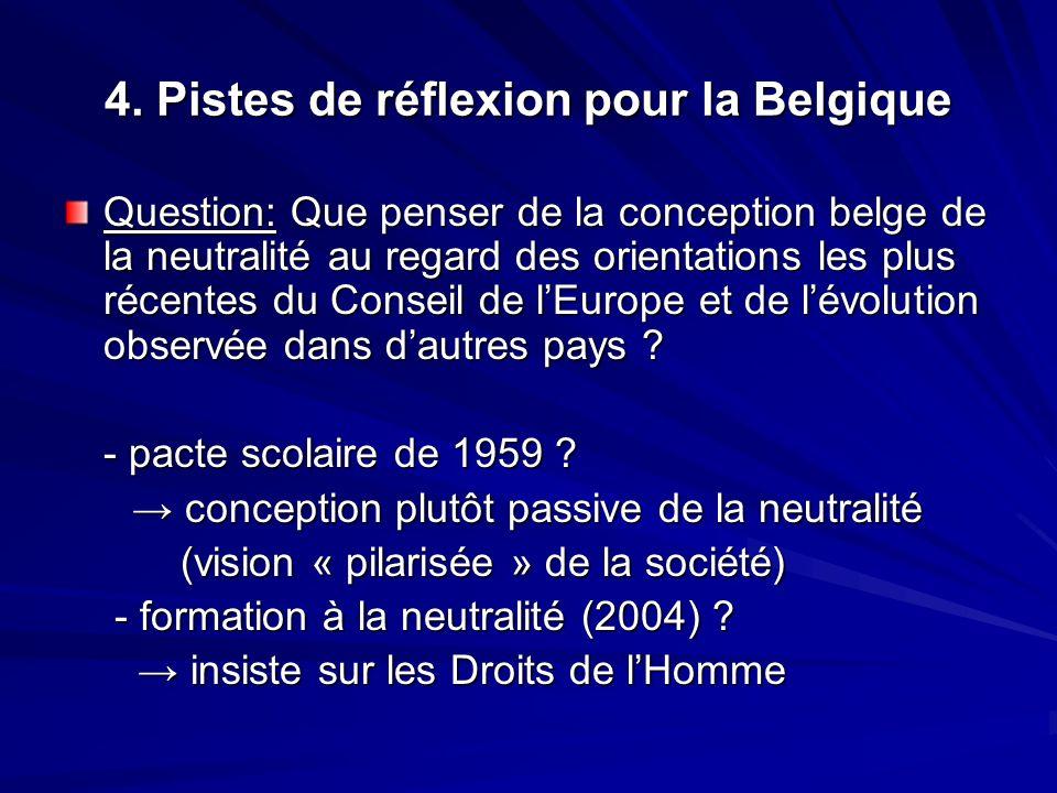 4. Pistes de réflexion pour la Belgique Question: Que penser de la conception belge de la neutralité au regard des orientations les plus récentes du C