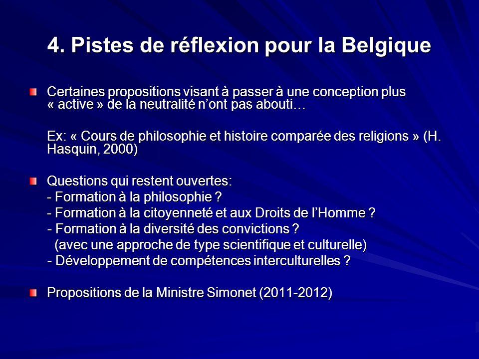4. Pistes de réflexion pour la Belgique Certaines propositions visant à passer à une conception plus « active » de la neutralité nont pas abouti… Ex: