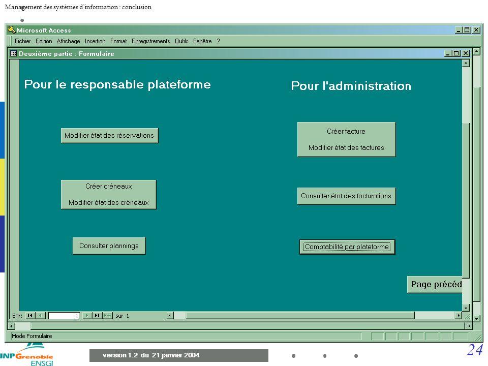 23 Management des systèmes dinformation : conclusion version 1.2 du 21 janvier 2004