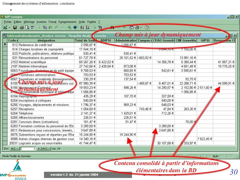 29 Management des systèmes dinformation : conclusion version 1.2 du 21 janvier 2004 Direction et conseil dadministration Système d informations Format