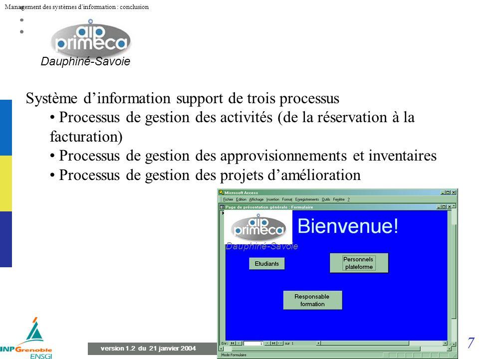 7 Management des systèmes dinformation : conclusion version 1.2 du 21 janvier 2004 Système dinformation support de trois processus Processus de gestion des activités (de la réservation à la facturation) Processus de gestion des approvisionnements et inventaires Processus de gestion des projets damélioration Dauphiné-Savoie