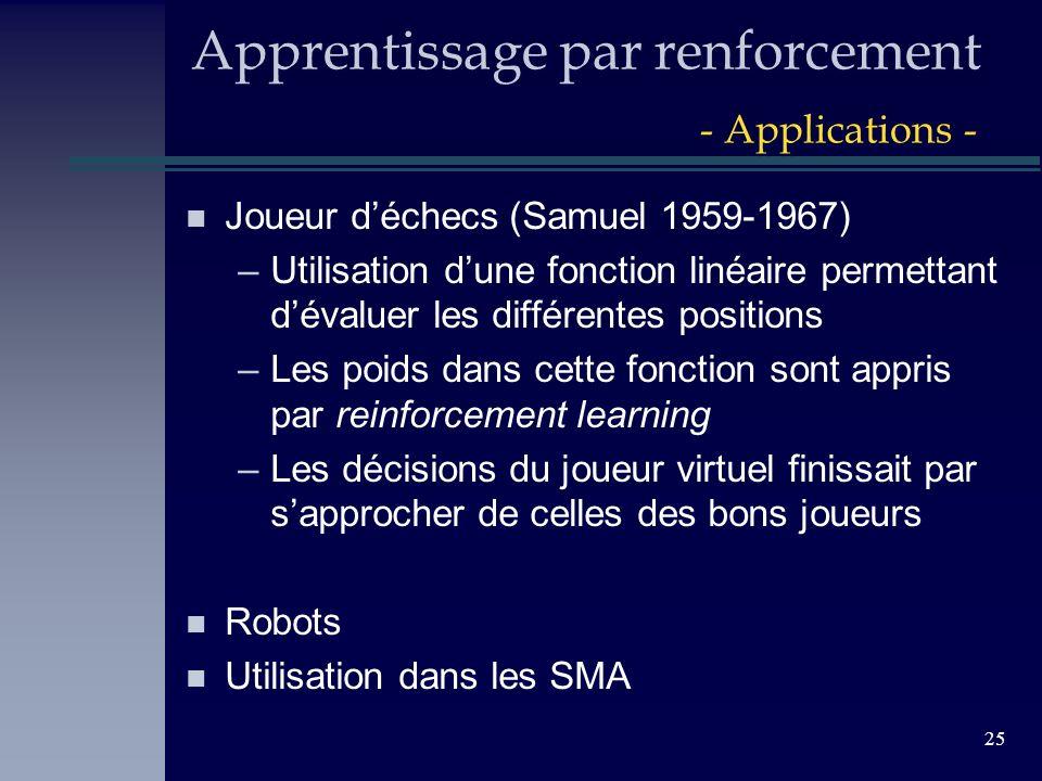 25 Apprentissage par renforcement - Applications - n Joueur déchecs (Samuel 1959-1967) –Utilisation dune fonction linéaire permettant dévaluer les dif