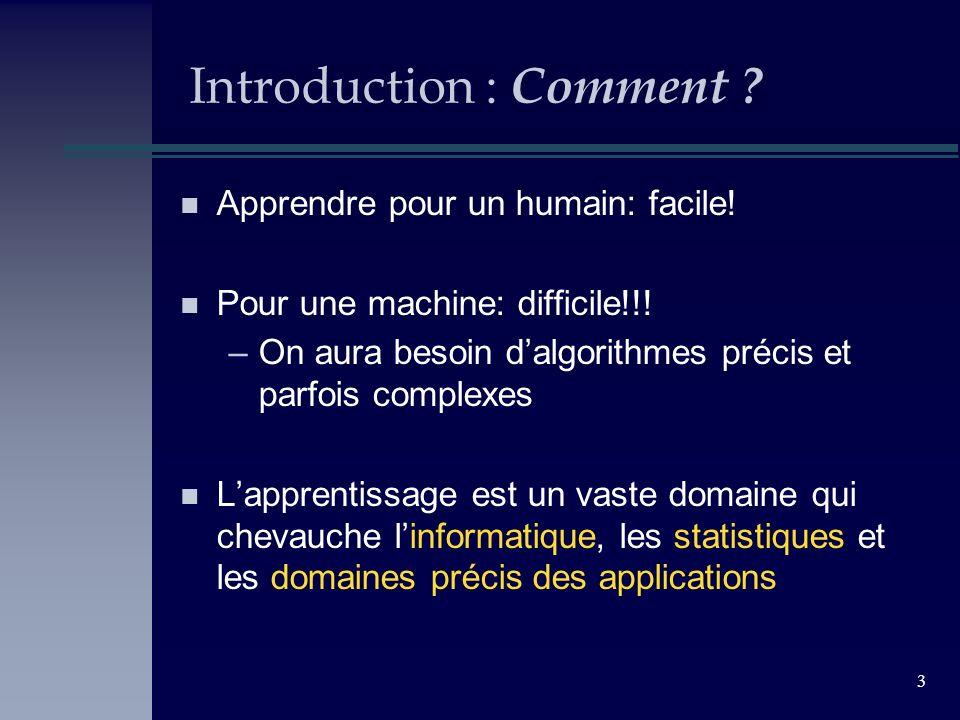 3 Introduction : Comment ? n Apprendre pour un humain: facile! n Pour une machine: difficile!!! –On aura besoin dalgorithmes précis et parfois complex