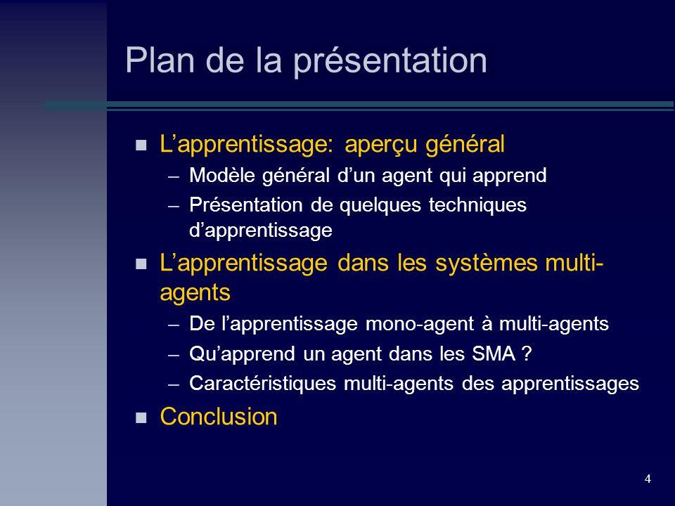 4 Plan de la présentation n Lapprentissage: aperçu général –Modèle général dun agent qui apprend –Présentation de quelques techniques dapprentissage n