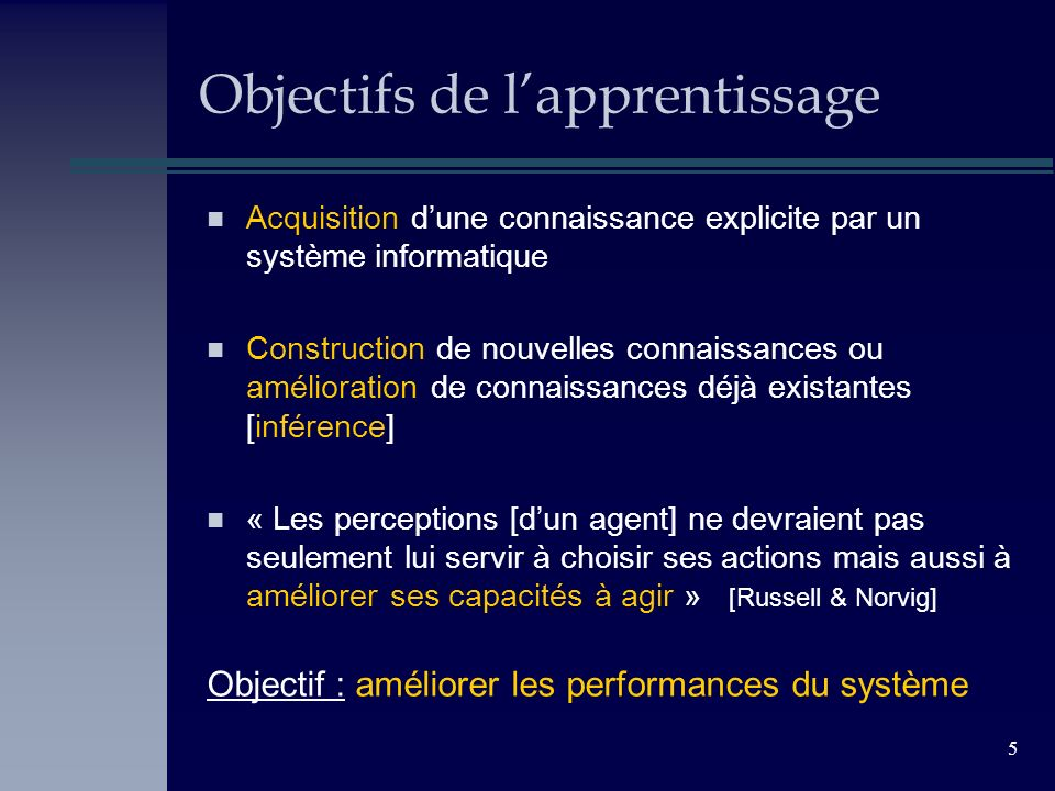 5 Objectifs de lapprentissage n Acquisition dune connaissance explicite par un système informatique n Construction de nouvelles connaissances ou améli