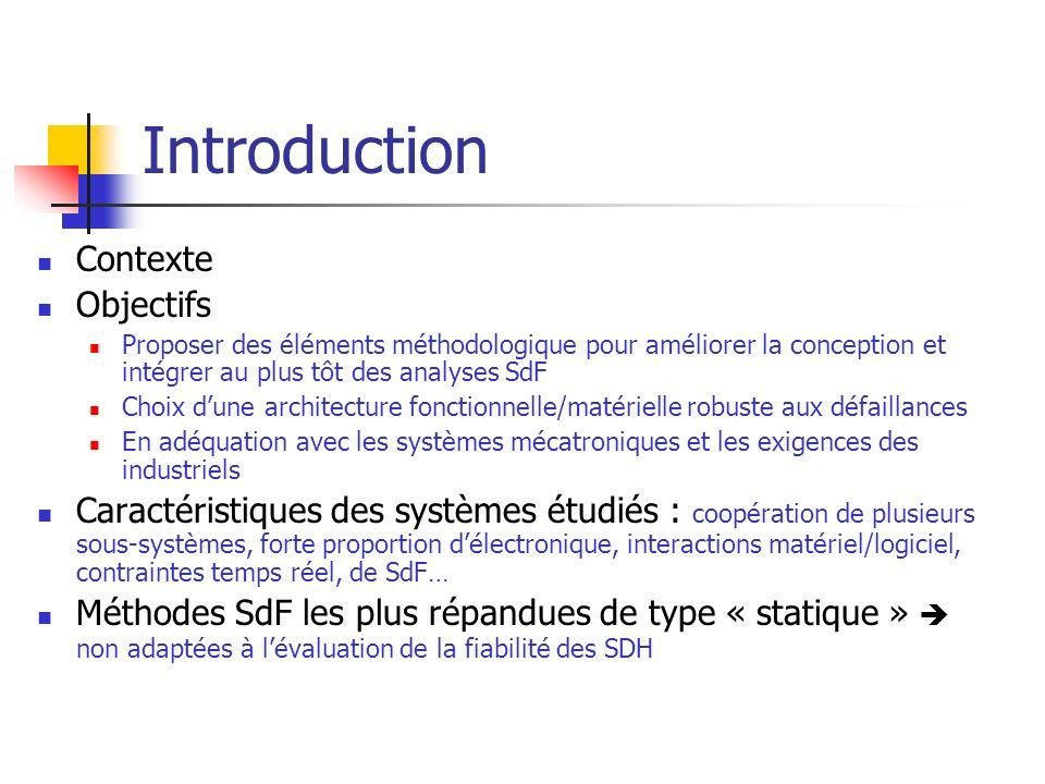 Introduction Contexte Objectifs Proposer des éléments méthodologique pour améliorer la conception et intégrer au plus tôt des analyses SdF Choix dune