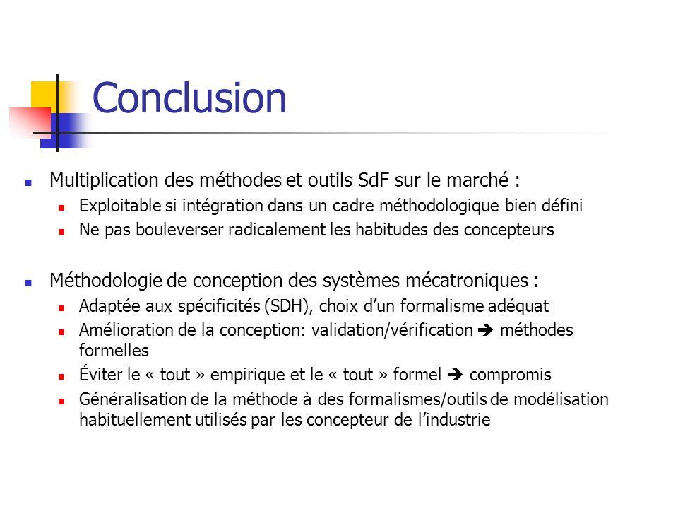 Conclusion Multiplication des méthodes et outils SdF sur le marché : Exploitable si intégration dans un cadre méthodologique bien défini Ne pas boulev