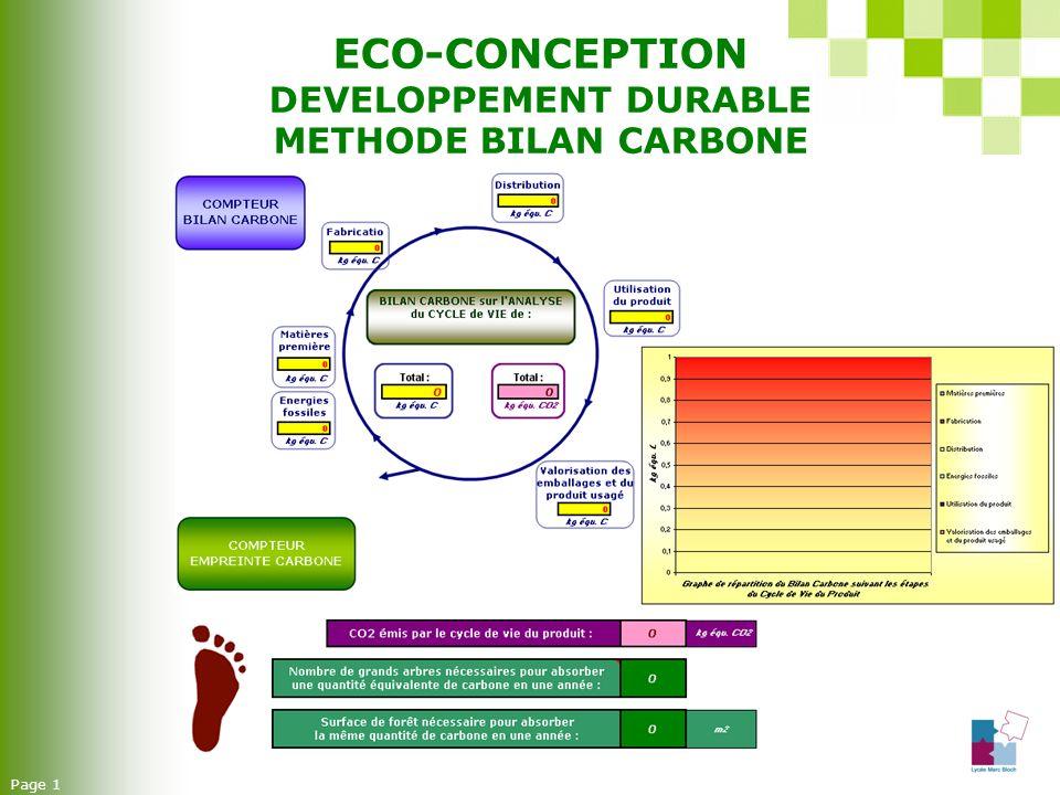 ECO-CONCEPTION DEVELOPPEMENT DURABLE METHODE BILAN CARBONE Page 1