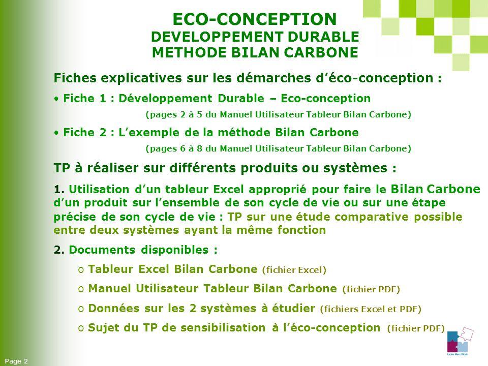 ECO-CONCEPTION DEVELOPPEMENT DURABLE METHODE BILAN CARBONE Page 2 Fiches explicatives sur les démarches déco-conception : Fiche 1 : Développement Dura