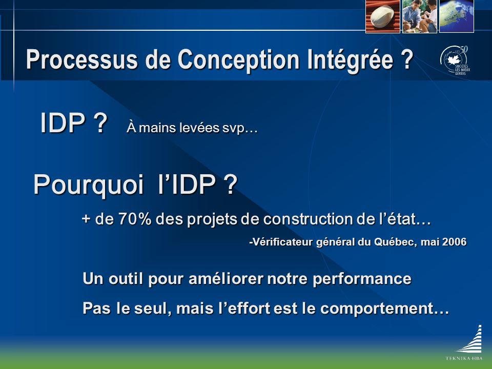 Processus de Conception Intégrée ? IDP ? À mains levées svp… Pourquoi lIDP ? + de 70% des projets de construction de létat… -Vérificateur général du Q