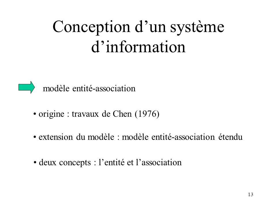 13 Conception dun système dinformation modèle entité-association origine : travaux de Chen (1976) extension du modèle : modèle entité-association éten