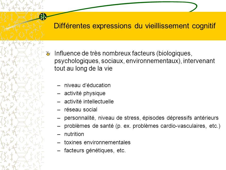 Différentes expressions du vieillissement cognitif Influence de très nombreux facteurs (biologiques, psychologiques, sociaux, environnementaux), inter