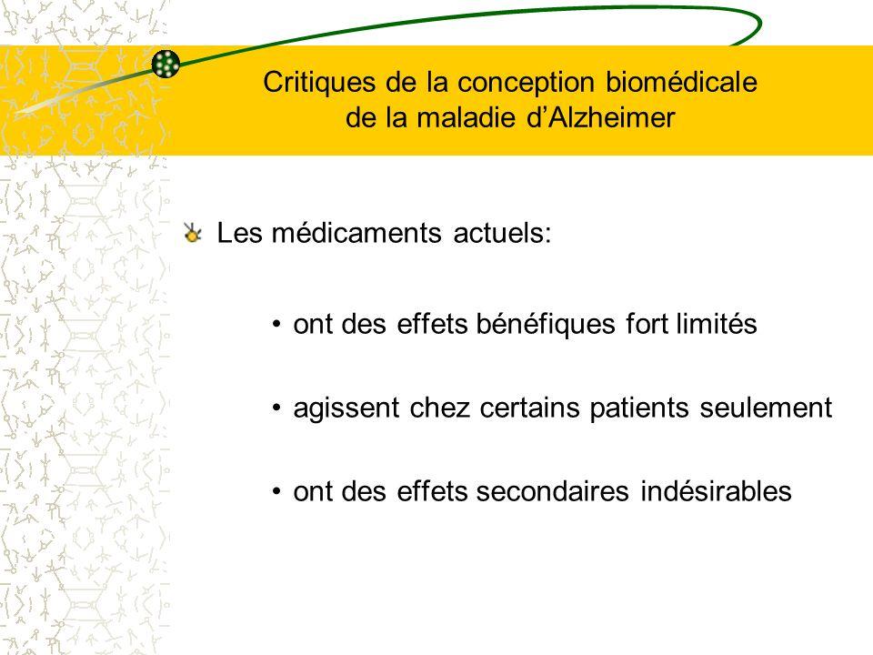 Critiques de la conception biomédicale de la maladie dAlzheimer Les médicaments actuels: ont des effets bénéfiques fort limités agissent chez certains