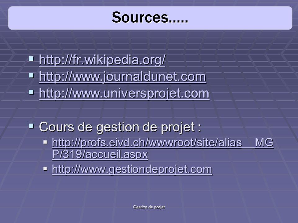 Gestion de projet http://fr.wikipedia.org/ http://fr.wikipedia.org/ http://fr.wikipedia.org/ http://www.journaldunet.com http://www.journaldunet.com http://www.journaldunet.com http://www.universprojet.com http://www.universprojet.com http://www.universprojet.com Cours de gestion de projet : Cours de gestion de projet : http://profs.eivd.ch/wwwroot/site/alias__MG P/319/accueil.aspx http://profs.eivd.ch/wwwroot/site/alias__MG P/319/accueil.aspx http://profs.eivd.ch/wwwroot/site/alias__MG P/319/accueil.aspx http://profs.eivd.ch/wwwroot/site/alias__MG P/319/accueil.aspx http://www.gestiondeprojet.com http://www.gestiondeprojet.com http://www.gestiondeprojet.com Sources.....