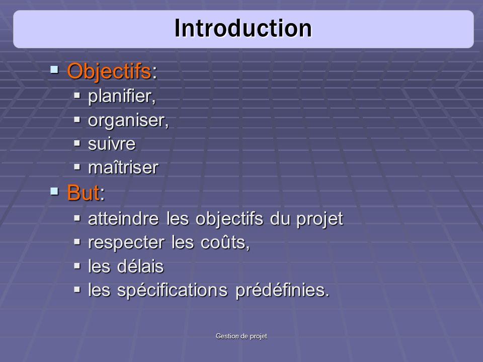 Gestion de projet Objectifs: Objectifs: planifier, planifier, organiser, organiser, suivre suivre maîtriser maîtriser But: But: atteindre les objectif