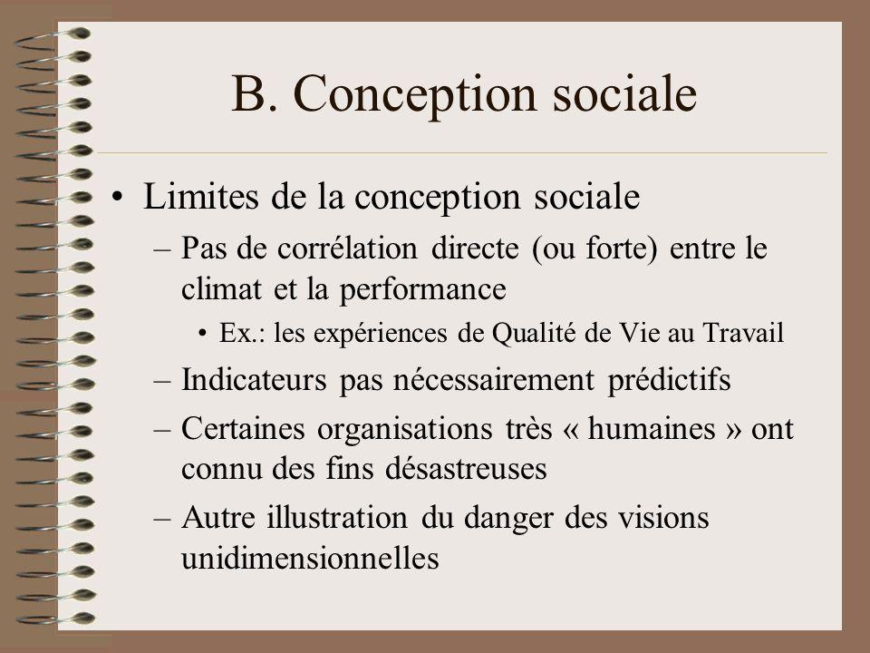 B. Conception sociale Limites de la conception sociale –Pas de corrélation directe (ou forte) entre le climat et la performance Ex.: les expériences d