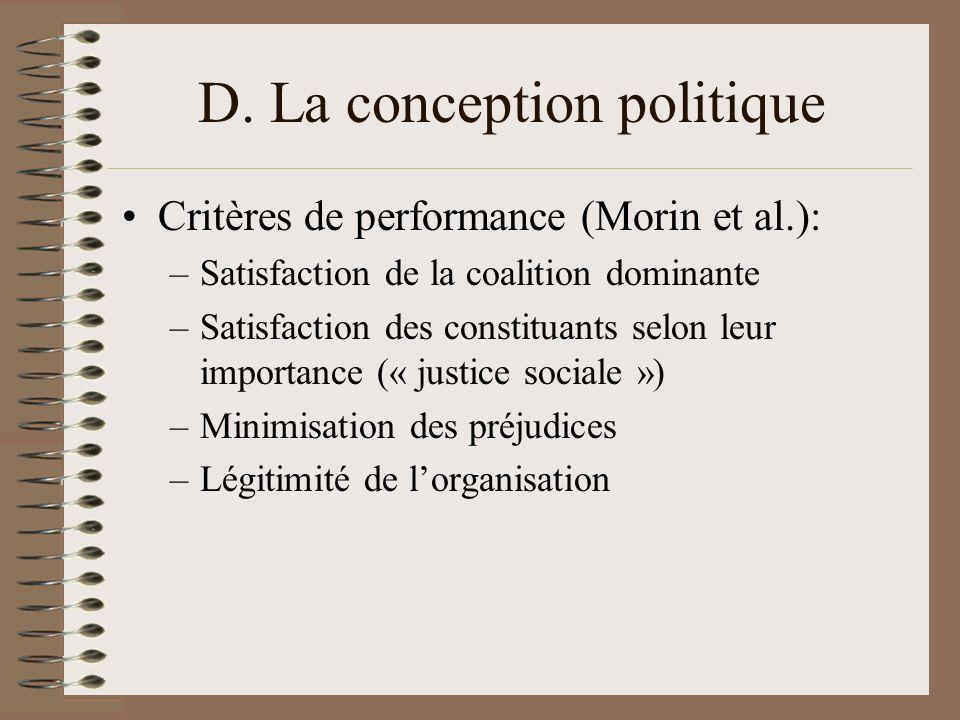 D. La conception politique Critères de performance (Morin et al.): –Satisfaction de la coalition dominante –Satisfaction des constituants selon leur i