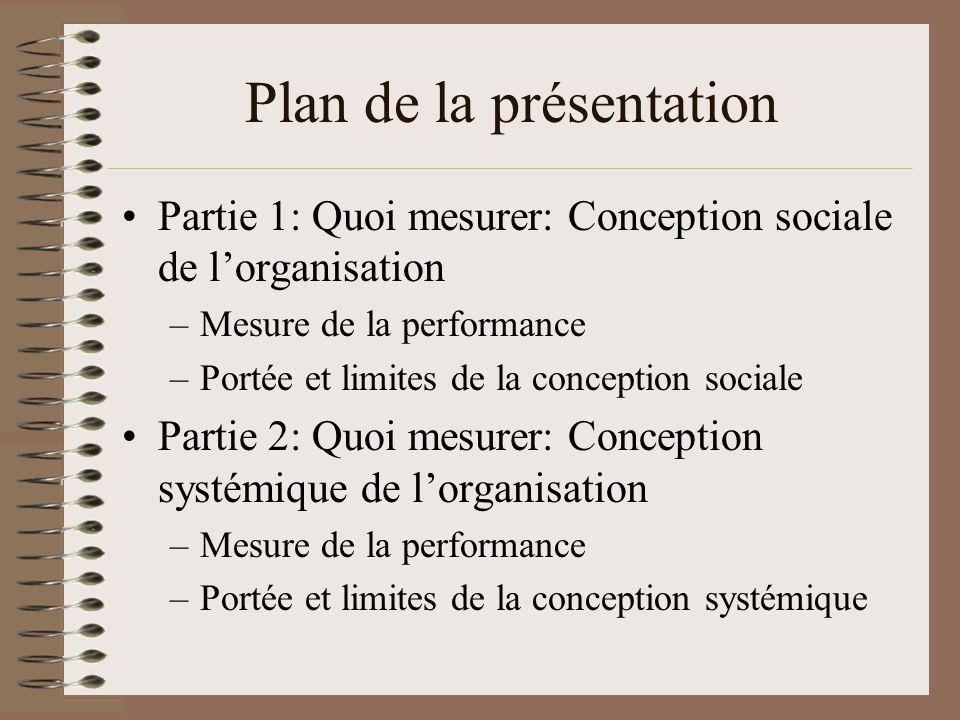 Plan de la présentation Partie 1: Quoi mesurer: Conception sociale de lorganisation –Mesure de la performance –Portée et limites de la conception sociale Partie 2: Quoi mesurer: Conception systémique de lorganisation –Mesure de la performance –Portée et limites de la conception systémique