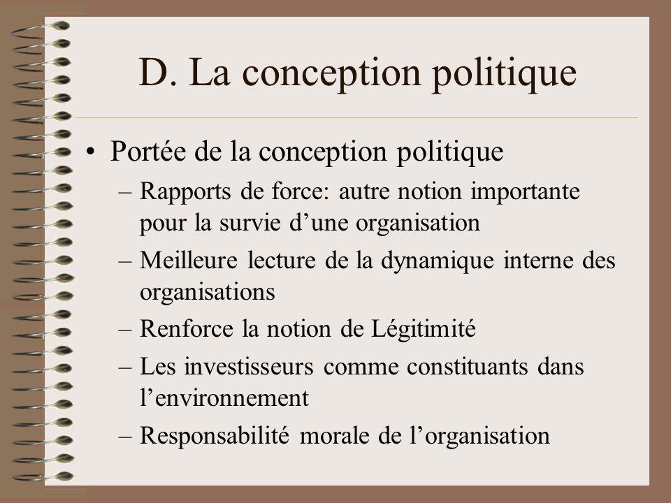 D. La conception politique Portée de la conception politique –Rapports de force: autre notion importante pour la survie dune organisation –Meilleure l