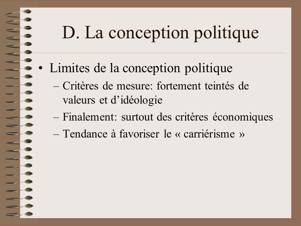 D. La conception politique Limites de la conception politique –Critères de mesure: fortement teintés de valeurs et didéologie –Finalement: surtout des