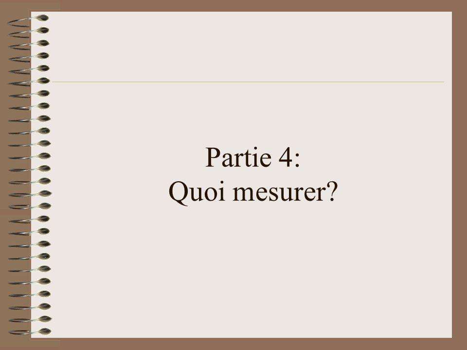 Partie 4: Quoi mesurer?