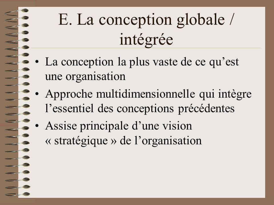 E. La conception globale / intégrée La conception la plus vaste de ce quest une organisation Approche multidimensionnelle qui intègre lessentiel des c