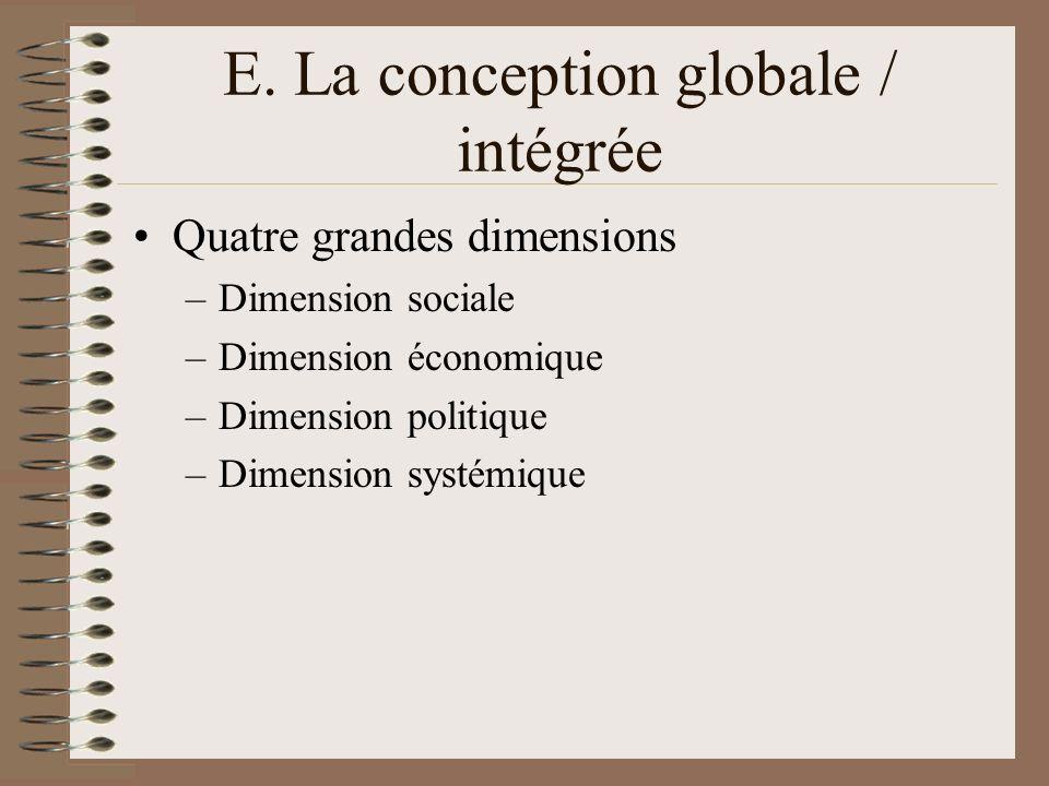 E. La conception globale / intégrée Quatre grandes dimensions –Dimension sociale –Dimension économique –Dimension politique –Dimension systémique