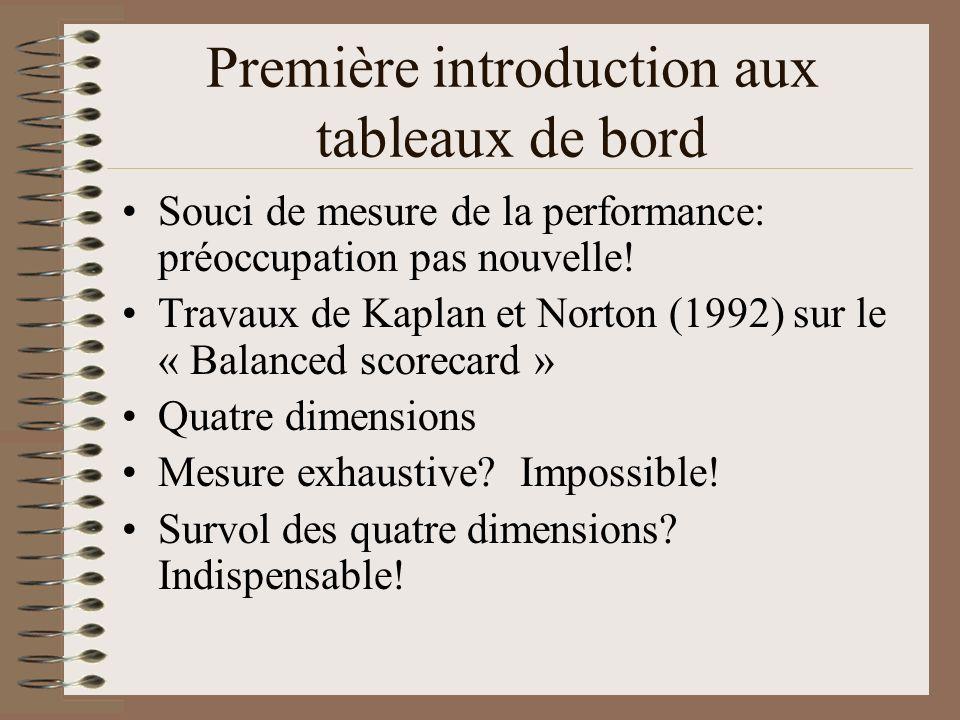 Première introduction aux tableaux de bord Souci de mesure de la performance: préoccupation pas nouvelle.