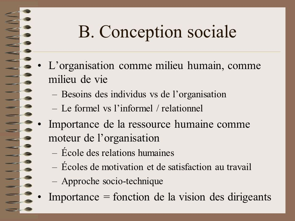 B. Conception sociale Lorganisation comme milieu humain, comme milieu de vie –Besoins des individus vs de lorganisation –Le formel vs linformel / rela