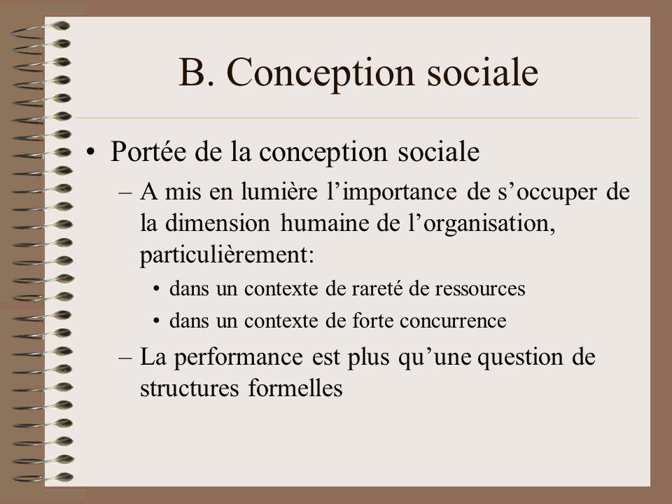 B. Conception sociale Portée de la conception sociale –A mis en lumière limportance de soccuper de la dimension humaine de lorganisation, particulière