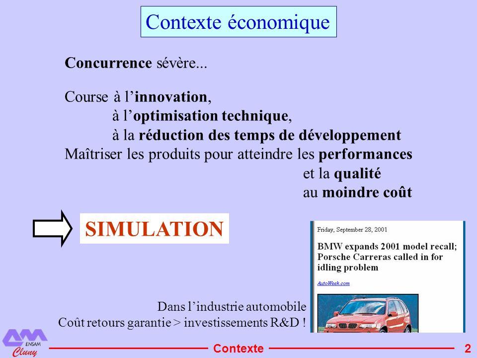2 Contexte économique Course à linnovation, à loptimisation technique, à la réduction des temps de développement Maîtriser les produits pour atteindre