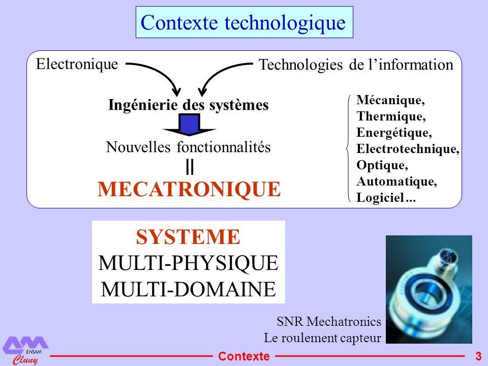 3 Contexte technologique Mécanique, Thermique, Energétique, Electrotechnique, Optique, Automatique, Logiciel... SNR Mechatronics Le roulement capteur